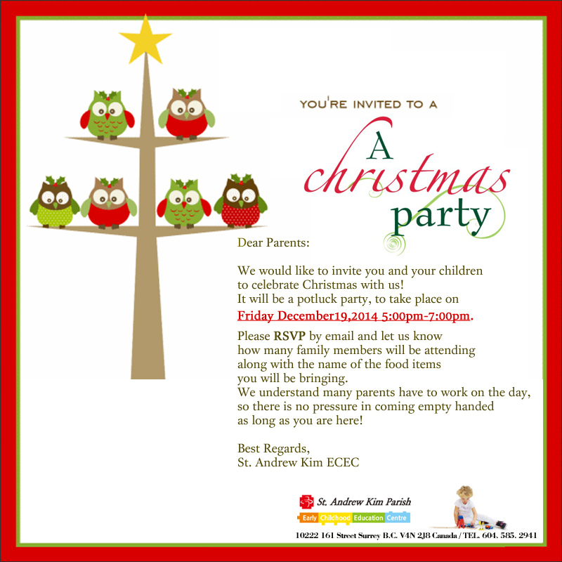 Invitation Letter For Christmas Party Template